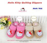 Hello Kitty Winter Kids Adult Slippers Fur Warm Casual Sandals Shoes Genuine