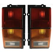 Halogen Tail Light Set For 1984-1996 Jeep Cherokee Amber/clear/red Lens 2pcs