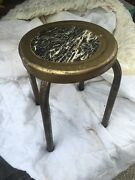 Vintage Antique Metal Industrial Stool 11 Round Seat Four Legs Free Shipping