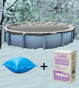 30' Round Above Ground Winter Pool Cover + 4'x4' Air Pillow + Winterizing Kit
