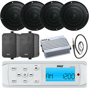 """Pyle Bluetooth Boat Radio, Amplifier + Marine 5"""" And 4"""" Speakers W/ Antenna"""