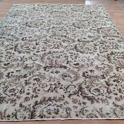 10and039 3 X7and0391 Vintage Brown Cream Green Oushak Vintage Rug Carpet Tapis Teppich