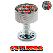 Silver Knurled Billet Seat Bolt 96-up Harley Touring Ghost Usa Fire Dept - 151