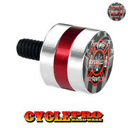 Silver And Red Billet Fender Seat Bolt 96-up Harley Ghost Usa Fire Dept - 151