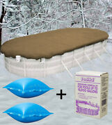 15'x30' Oval Above Ground Winter Pool Cover + 4x4 Air Pillows + Winterizing Kit
