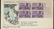 954 Discovery Of Gold 1948 Usa Fdc With Plate Block Large Cancel Lot 975