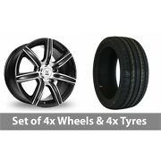 4 X 18 Bk Racing 808 Black Polished Alloy Wheel Rims And Tyres - 245/50/18