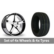 4 X 20 Bk Racing 677 Black Polished Alloy Wheel Rims And Tyres - 255/40/20