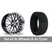 4 X 20 Bk Racing 861 Wp Black Polished Alloy Wheel Rims And Tyres - 255/30/20