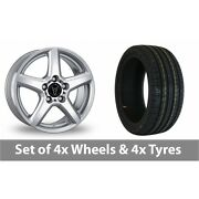 4 X 16 Wolfrace Silver Alloy Wheel Rims And Tyres - 215/60/16