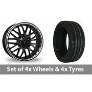 4 X 17 Wolfrace Norano Black Alloy Wheel Rims And Tyres - 215/50/17