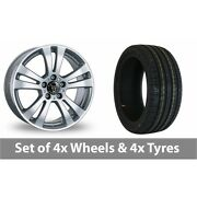 4 X 19 Wolfrace Dh Silver Alloy Wheel Rims And Tyres - 255/35/19