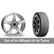 4 X 19 Wolfrace Quinto Silver Alloy Wheel Rims And Tyres - 255/45/19