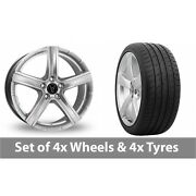 4 X 19 Wolfrace Quinto Silver Alloy Wheel Rims And Tyres - 285/30/19