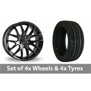4 X 20 Wolfrace Munich Black Alloy Wheel Rims And Tyres - 255/40/20