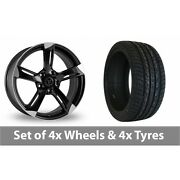 4 X 20 Wolfrace Genesis Black Polished Alloy Wheel Rims And Tyres - 275/40/20
