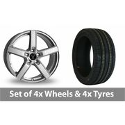 4 X 18 Wolfrace Emotion Silver Alloy Wheel Rims And Tyres - 245/50/18