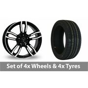 4 X 18 Wolfrace Drive Black Polished Alloy Wheel Rims And Tyres - 245/45/18