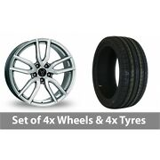4 X 17 Wolfrace Torino Silver Alloy Wheel Rims And Tyres - 215/50/17