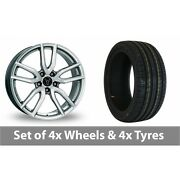 4 X 19 Wolfrace Torino Silver Alloy Wheel Rims And Tyres - 225/35/19
