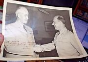Autographed Personalized Photo Gen.omar Bradley And Gen Henry Balding Lewis Wwii