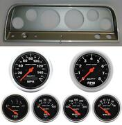 65-66 Chevy Truck Silver Dash Carrier W/ Auto Meter Sport Comp Electric Gauges