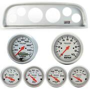 60-63 Chevy Truck Silver Dash Carrier W/ Auto Meter Ultra Lite Electric Gauges