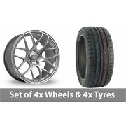 4 X 19 Fox Racing Ms007 Hyper Silver Alloy Wheel Rims And Tyres - 235/50/19