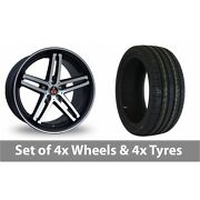 4 X 19 Axe Ex Black Polished Pinstripe Alloy Wheel Rims And Tyres - 225/35/19