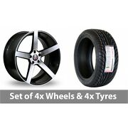 4 X 18 Axe Ex18 Black Polished Alloy Wheel Rims And Tyres - 255/35/18