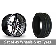 4 X 20 Axe Ex20 Black Polished Alloy Wheel Rims And Tyres - 245/40/20