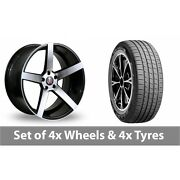 4 X 19 Axe Ex18 Black Polished Alloy Wheel Rims And Tyres - 255/45/19