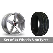 4 X 19 Axe Ex18 Silver Polished Alloy Wheel Rims And Tyres - 245/40/19