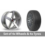 4 X 19 Axe Ex18 Silver Polished Alloy Wheel Rims And Tyres - 265/30/19