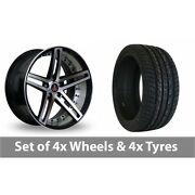 4 X 22 Axe Ex20 Black Polished Alloy Wheel Rims And Tyres - 295/30/22