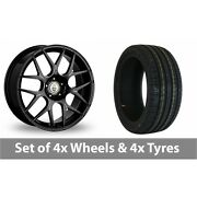 4 X 18 Cades Bern Accent Black Polished Alloy Wheel Rims And Tyres - 235/45/18