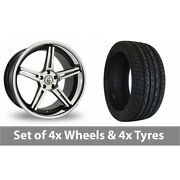 4 X 20 Cades Calisto Black Polished Alloy Wheel Rims And Tyres - 255/50/20