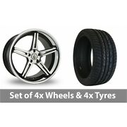 4 X 20 Cades Calisto Black Polished Alloy Wheel Rims And Tyres - 295/40/20