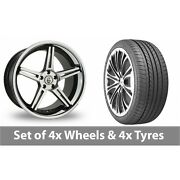 4 X 20 Cades Calisto Black Polished Alloy Wheel Rims And Tyres - 275/35/20