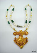 Vintage 20kt Gold Pendant Necklace Gold And Pearl Beads