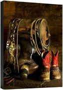 In The Barn Robert Dawson Cowboy Boots Saddle Rope Spurs Fine Art Canvas 36x24
