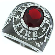 Firefighter Fire Dept. Red Stone Silver Stainless Steel Mens Ring