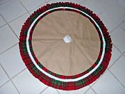 48 In Burlap And Red And Green Plaid White Faux Fur Tree Skirt Christmas Decoration