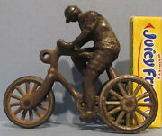 On Sale Old Orig Ives Cast Iron 3 Wheel Tricycle / Bicycle And Rider Pull Toy