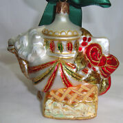 Waterford Overture Holiday Teapot Glass Ornament, White With Color Glitter, Box