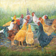 Happy Hour By June Dudley Chickens Hens Roosters Farm Animals Canvas 20x20