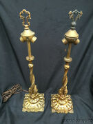Pair Leaded Stained Glass Lamp Base Handel Era H.a. Best Lamp Co Chicago