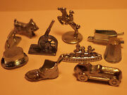 New Old Stock 10 Monopoly Token Set Pewter Parker Bros Game Piece Mover 1979 Lot
