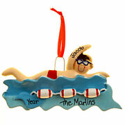 Swimmer Boy In Water Personalized Christmas Tree Ornament