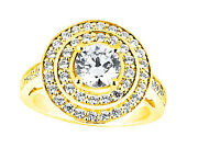 Genuine 1.25ct Round Diamond Double Halo Engagement Ring Solid 14k Gold